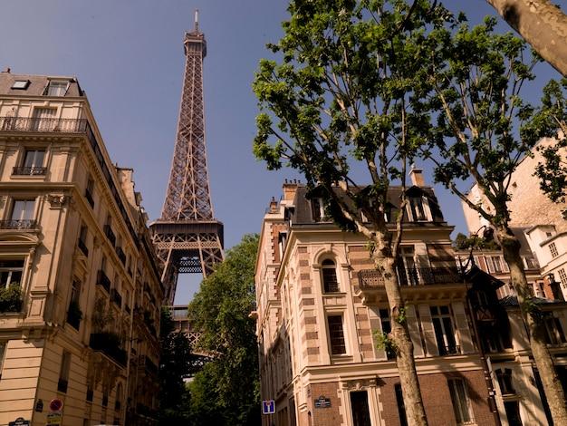 Eiffel tower behind buildings