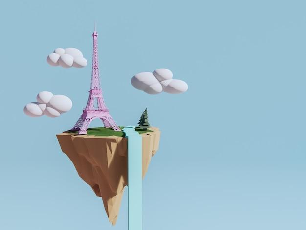 Eiffel tower on floating island.paris travel concept. 3d render