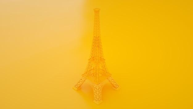 黄色のトラベルフランスで隔離されたエッフェル塔。 3dイラスト。