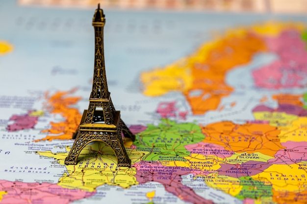 Eiffel tower on map for concept  travel (maps with thai language)