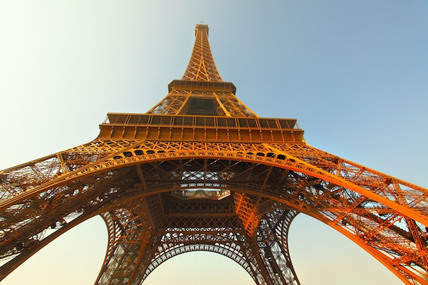 The eiffel tower in paris in the evening