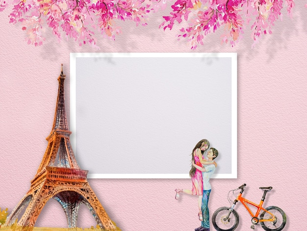 Eiffel tower paris france and couple man women tourrism and pink flowers. abstract watercolor painting illustration copy space text, popular famous landmarks of the worlds.