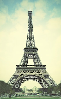 The eiffel tower in paris. retro style filtred image