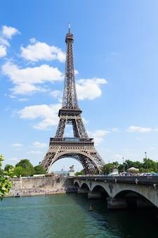 Eiffel tower over seine river, paris,  france