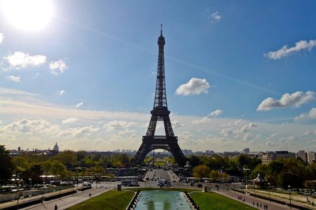 Eiffel tower view from trocadero square paris, france