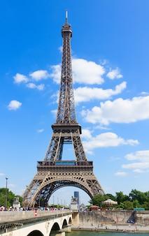 Eiffel towerand bridge dlena of  at summer day, paris,  france