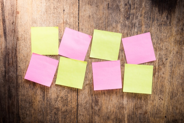 Eight blank colorful sticky notes