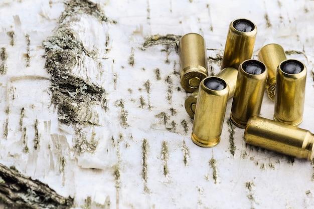 木製の白樺の背景に外傷性銃のための8つのカートリッジ