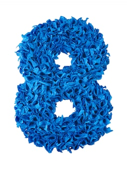 Eight, handmade number 8 from blue scraps of paper isolated on white