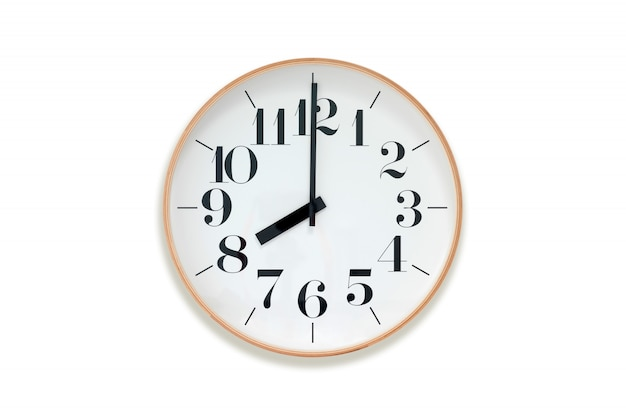 Eight o'clock. clock with wooden rim on white background