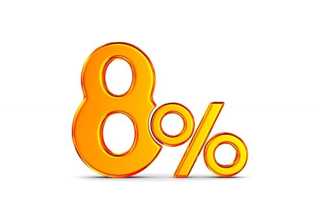 Восемь процентов на пустом месте. изолированные 3d иллюстрации