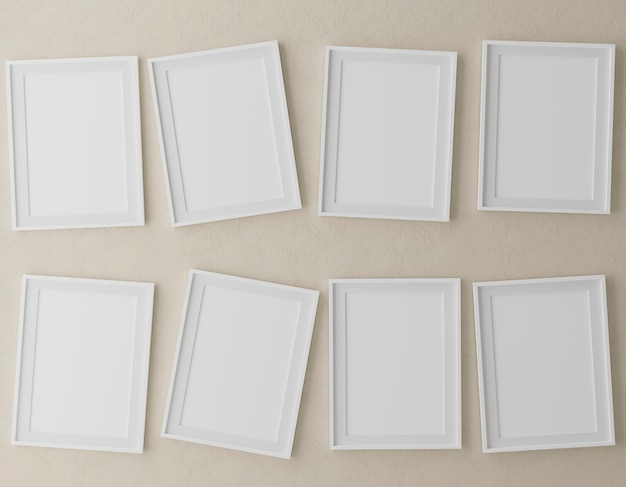 Eight vertical wooden frames on beige wall