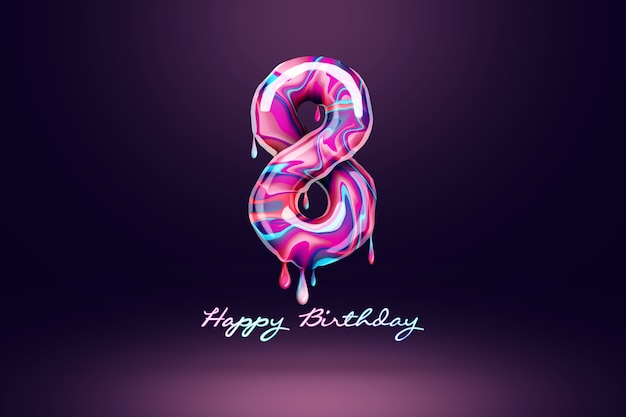 Eight year anniversary background, number from pink candy on dark background. concept for happy birthday background, brochure template, party, poster. 3d illustration, 3d rendering.