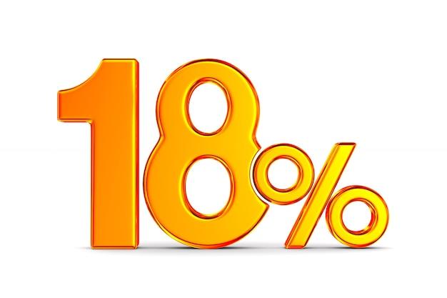 Восемнадцать процентов на пустом пространстве. изолированные 3d иллюстрации