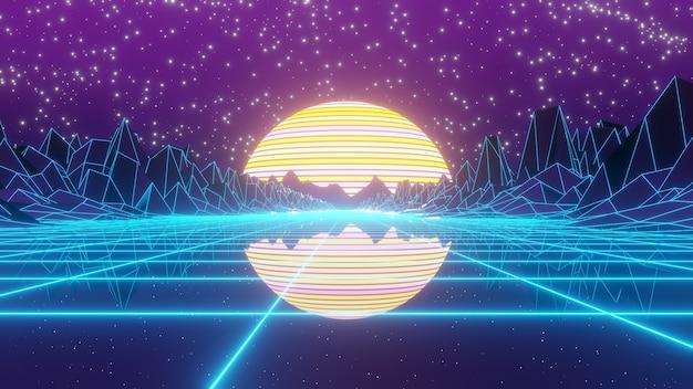 80 년대 복고풍 그리드 산 사이버 펑크 장면 배경 프리미엄 사진