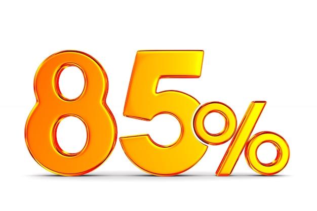 Восемьдесят пять процентов на пустом пространстве. изолированные 3d иллюстрации