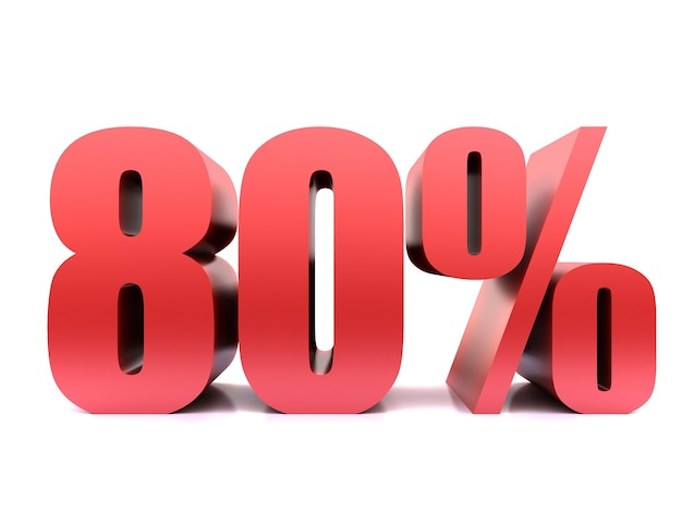 Восемьдесят процентов 80% символ .3d рендеринг