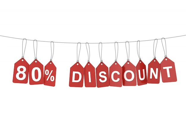 Eighty percent discount tag. 3d rendering.
