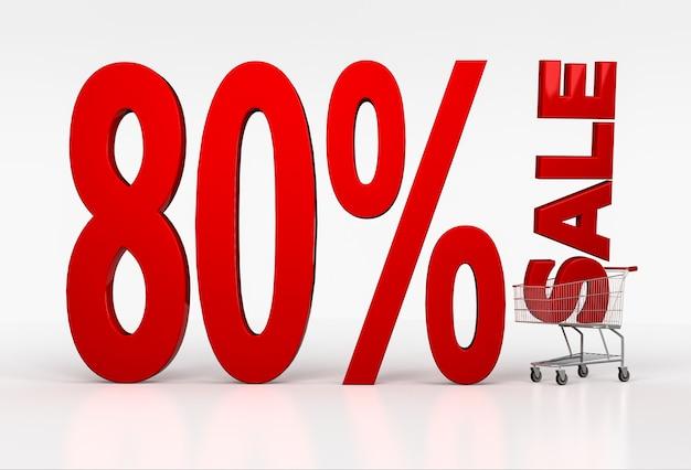 白のショッピングカートに80%オフのセールサインイン。 3dレンダリング
