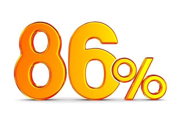 Восемьдесят шесть процентов на пустом пространстве. изолированные 3d иллюстрации