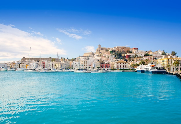 Eivissa ibiza town with church under blue sky