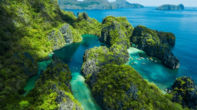 El nido, palawan, the philippines. aerial view of big lagoon, small lagoon and limestone cliffs