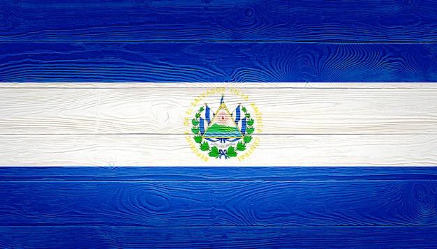 El salvador flag painted on wooden planks