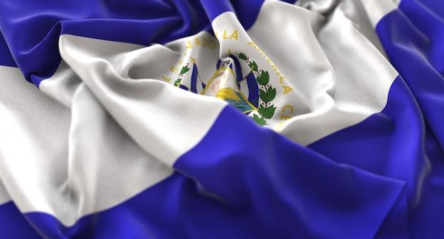 El salvador flag ruffled beautifully waving macro close-up shot