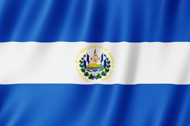El salvador flag waving in the wind.