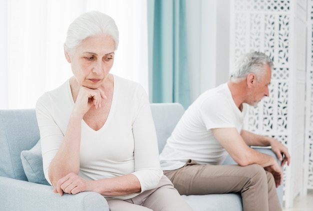 Elder couple angry with each other