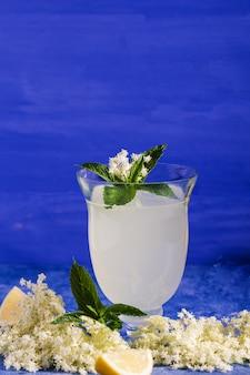 ヘルダーで爽やかな夏の飲み物。ニワトコの花とガラスの自家製ニワトコシロップのクローズアップ。夏の飲み物エルダーフラワーシロップ、ミント、ライム入りのヒューゴシャンパンドリンク。
