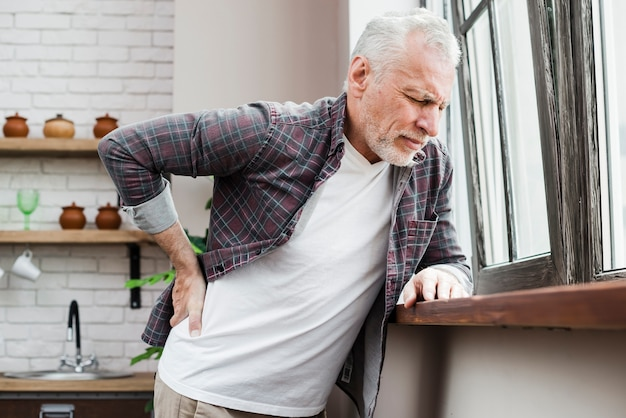 Elder man with back pain