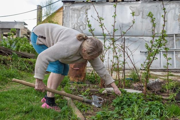 庭で働く年配の女性