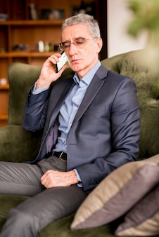 Elderly businessman talking by telephone