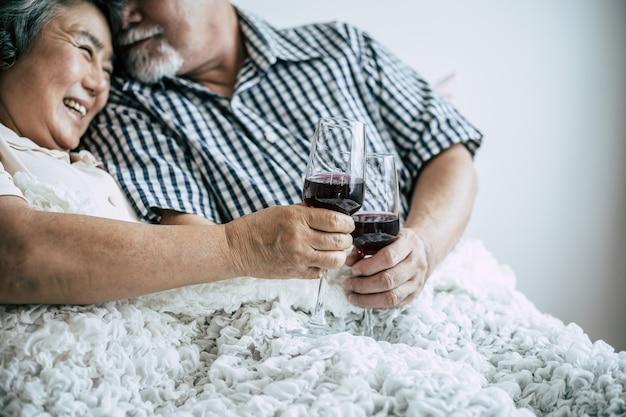 Elderly couple anniversary in bed room