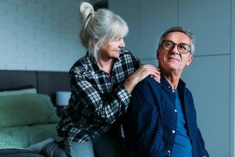 Elderly couple in retirement home