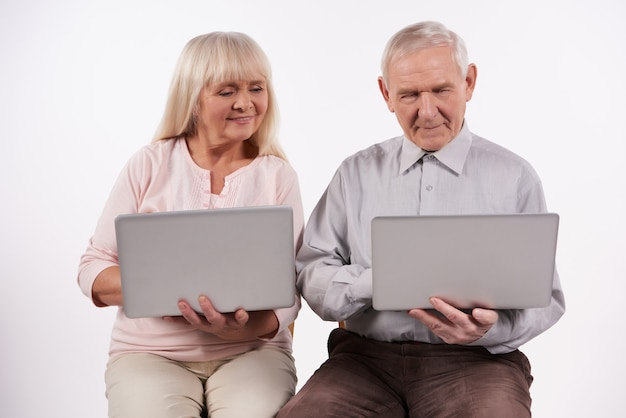 Elderly couple interacts with laptop.