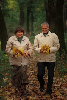 노인 부부는 가을 공원을 산책하고 나뭇잎을 모으고 웃습니다.