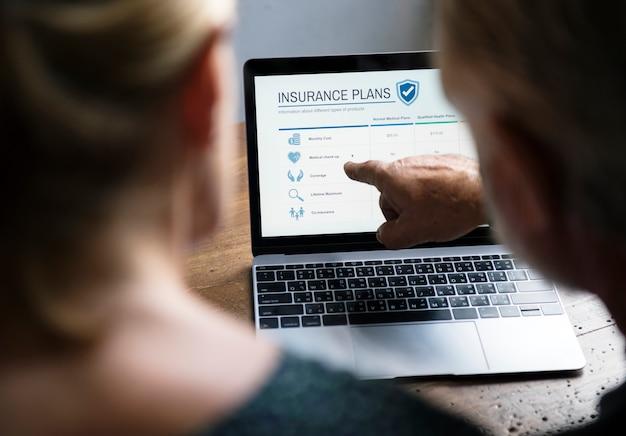 Elderly couple planning on life insurance plan