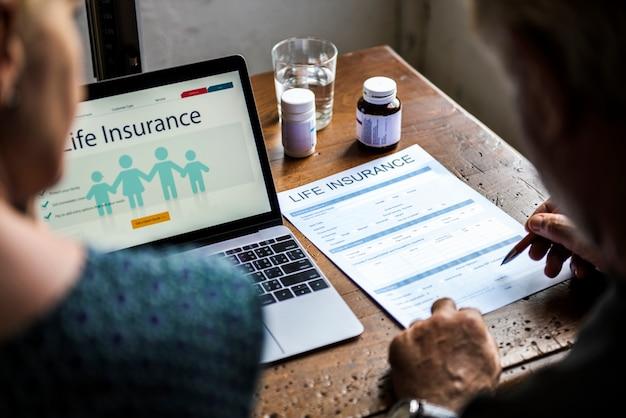 Elderly couple planning their life insurance plan