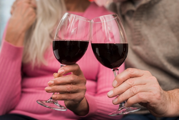 Elderly couple toasting on valentines day