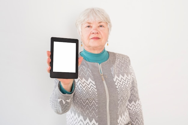 Elderly grandma posing