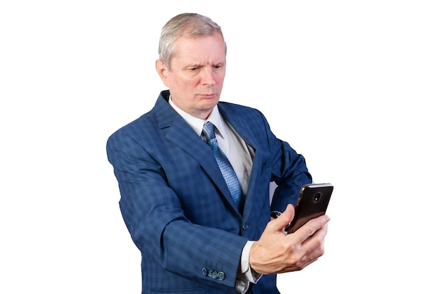 An elderly man communicates via video communication. isolated on a white background. for any purpose.