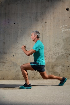 Elderly man practicing sports