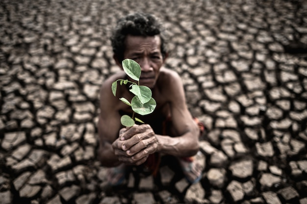 An elderly man sitting with dry soil and cracked in a hand held seedling, global warming