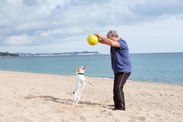 Пожилые мужчины пожилой мужчина играет с собакой на пляже в летний сезон.