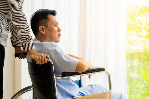 Elderly patient on wheelchair