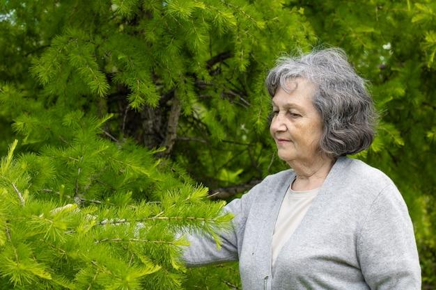 봄에는 공원의 푸른 나무들 사이에서 신선한 공기를 즐기는 할머니. 할머니는 공원에서 산책