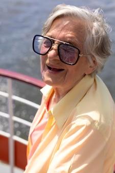 Elderly woman traveling alone