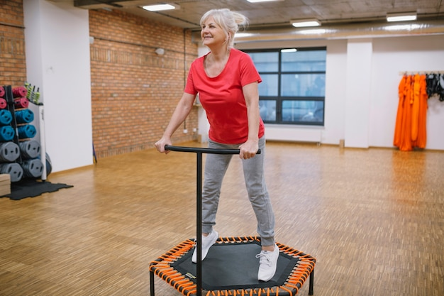 Elderly woman working out